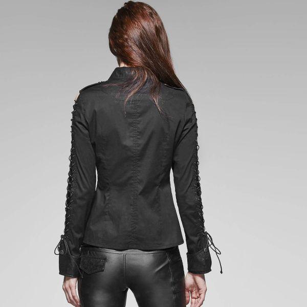 Gothic Style Bluse mit Schnürungen und Lederimitat
