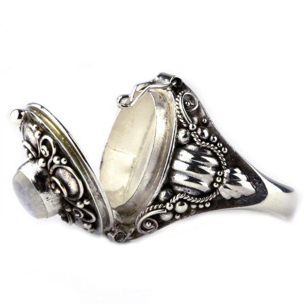 925er Silber Giftring im Antik Look mit Mondstein