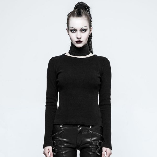 Daily Goth Shirt mit Schalkragen - beidseitig tragbar