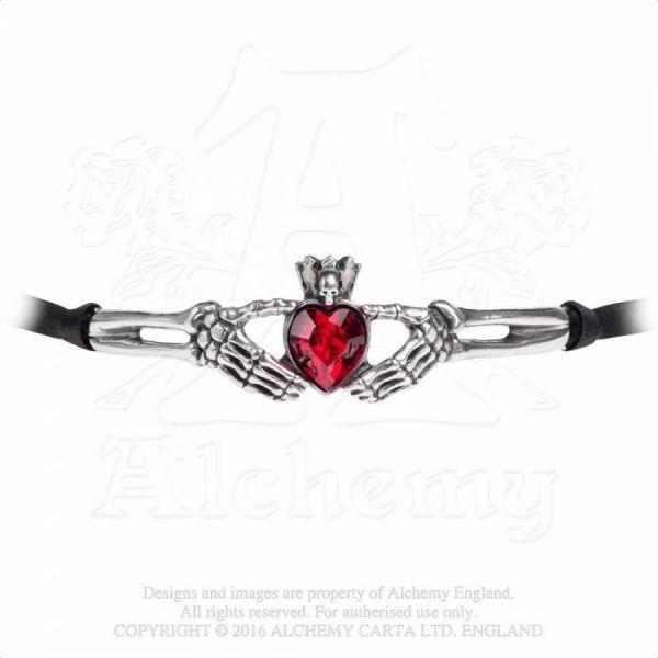 Halsband mit Kristall Herz - Claddagh by Night