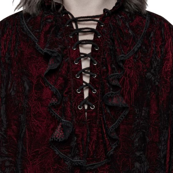 Blutrotes Hemd im Knitter Samt Look mit Ballonärmeln
