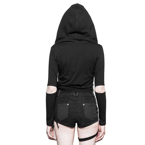 Asymmetrischer Hoodie mit Zipper und Armschlitzen