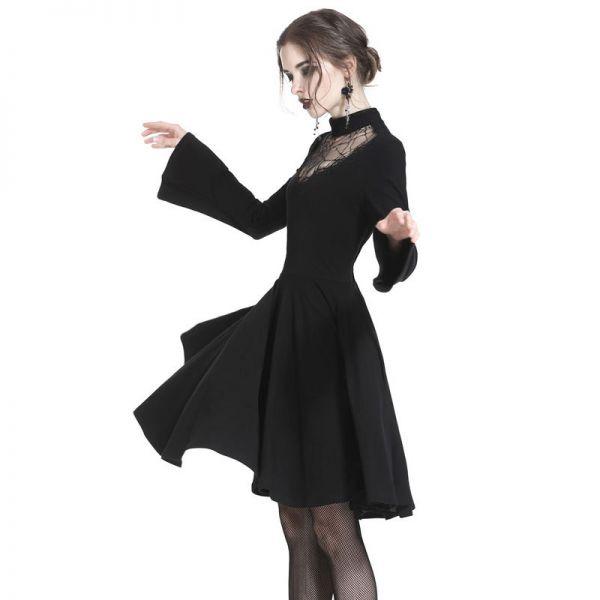 Gothic Kleid mit Tellerrock und Spinnennetz Dekollete