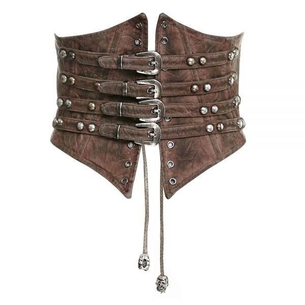 Steampunk Taillengürtel mit Nieten und Schnallen
