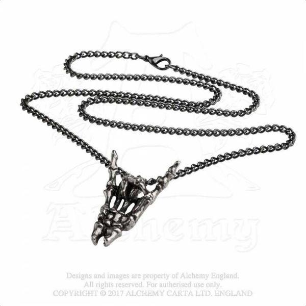 Halskette mit Skeletthand Anhänger - Sign of the Horns