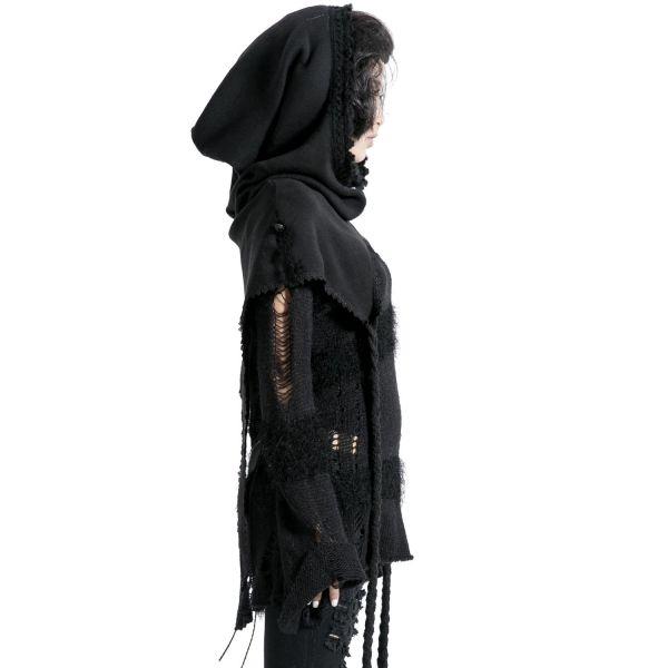 Gothic Poncho Schal mit Kapuze in Strickoptik