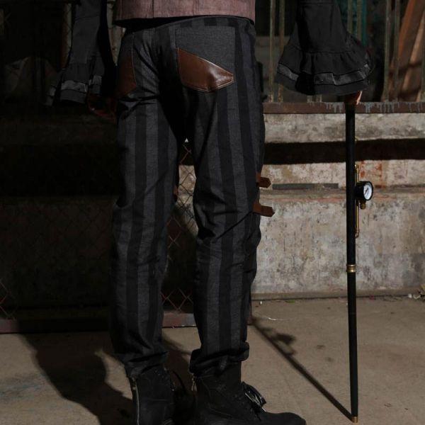 Steampunk Hose mit Blockstreifen und Beinholstern