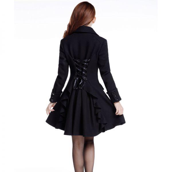 Schwarzer Mantel A Linie mit Rückenschnürung