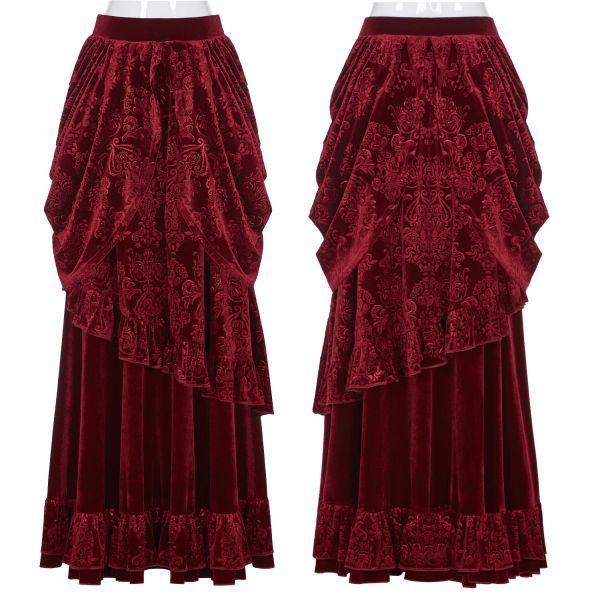 Blutroter viktorianischer Maxirock im Baroness Stil