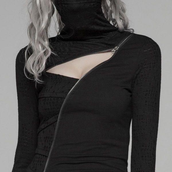 Shirt mit sexy Dekollete und Masken Schalkragen