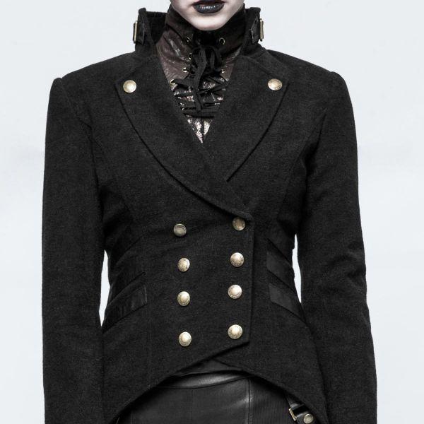Frack Jacke im Gothic Style mit Stehkragen tailliert