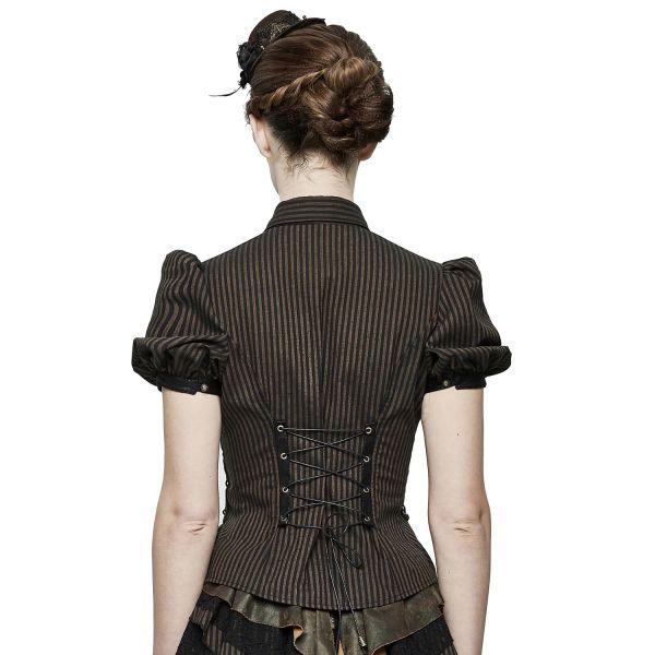 Nadelstreifen Steampunk Bluse mit Puffärmeln