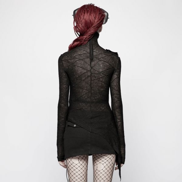 Grunge Style Rollkragen Shirt mit sexy Cut-Out