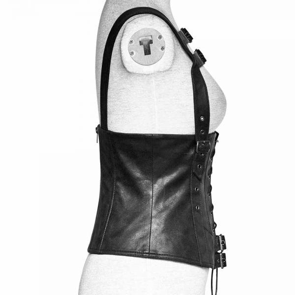 Schwarze Unterbrust Westencorsage im Vintage Lederlook