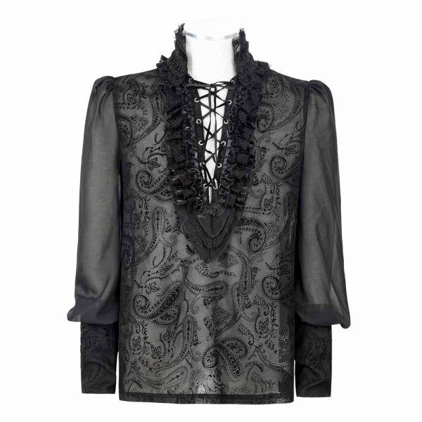 Viktorianisches Rüschenhemd mit Paisley Muster transparent