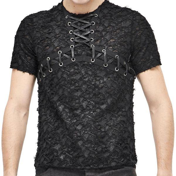 Post Apocalyptic T-Shirt im Fetzen-Look mit Schnürung