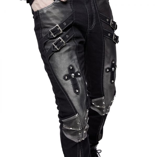 Cyberpunk Hose in silbergrauem Grunge-Style mit Kreuzen