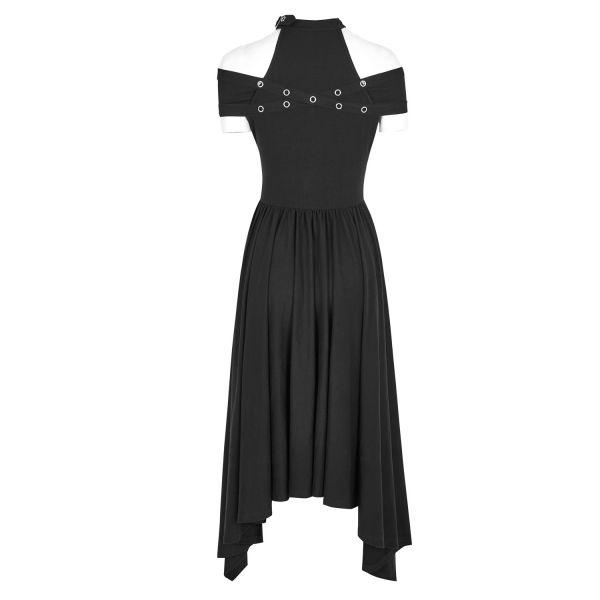 Gothic Style Off-Shoulder Kleid mit Nietenhalsband