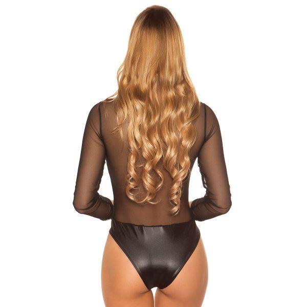 Wetlook Fetisch Body mit Netzärmeln und Zipper