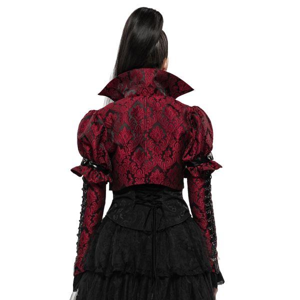 Viktorianischer Bolero in blutrotem Jacquard Design