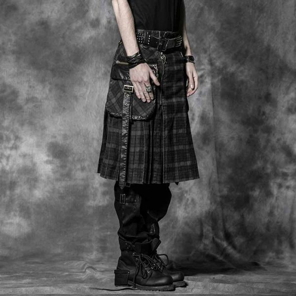 Männer Kilt mit Taschen und grauem Schottenmuster