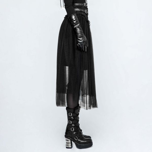 Schwarzer Rock A-Linie mit Tüll und Schnürungen