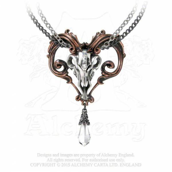 Halskette mit Widderschädel und Kristall - Amon-Ra