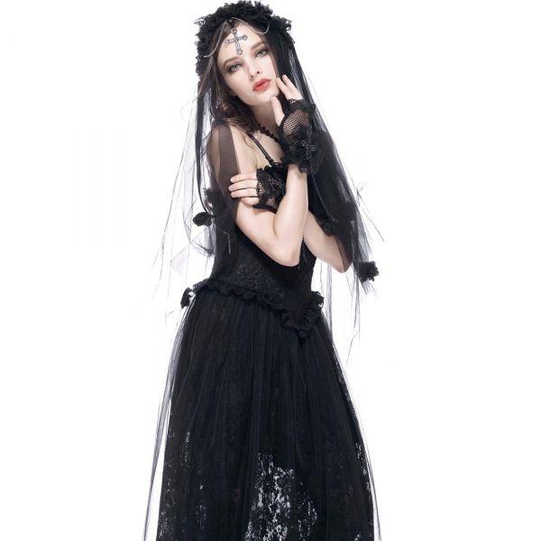 Schwarzer Schleier im Tiara Stil mit Rosenblüten
