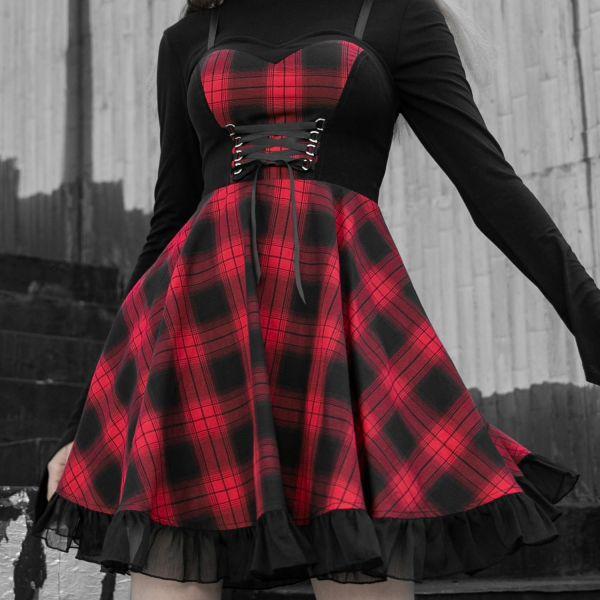 Glockenkleid im Checkerboard Look mit Herzausschnitt