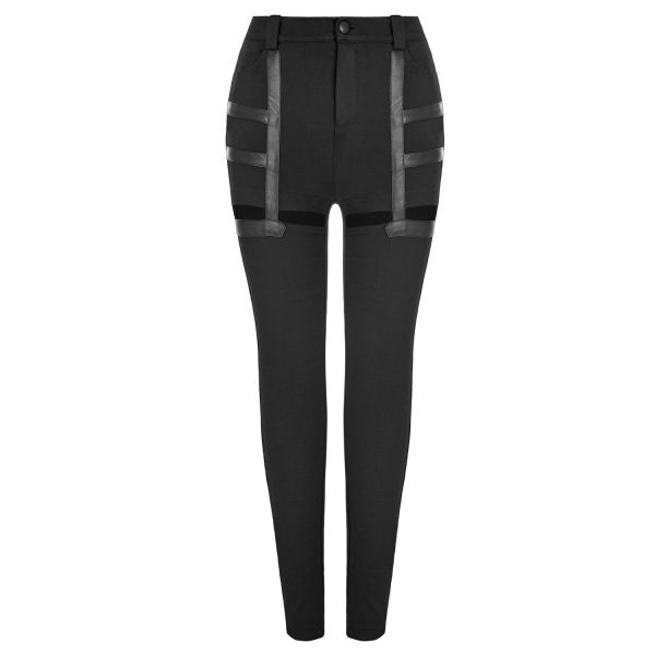Gothic Style Skinny Hose im Straps Look