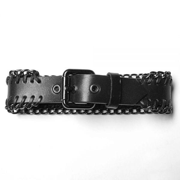 Industrial Halsband im Nietengürtel Leder-Look