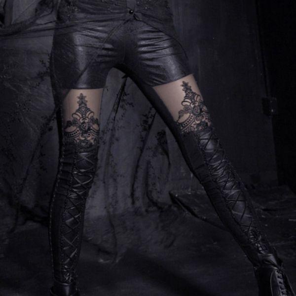 Wetlook Leggings mit Spitze im Hotpants Look