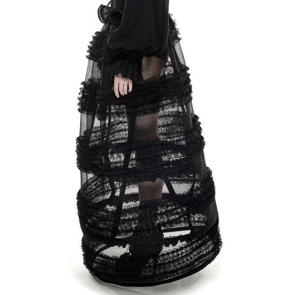 Reifrock schwarz lang mit gerüschter Spitze und Netz