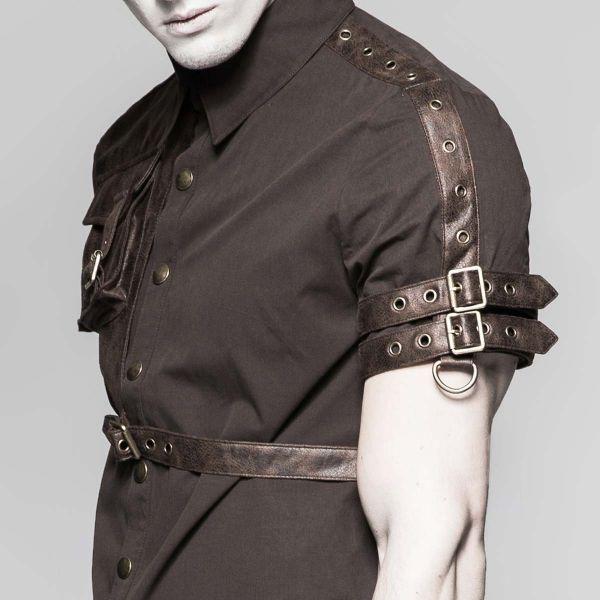 Steampunk Hemd mit Tasche und Schnallen in Lederoptik