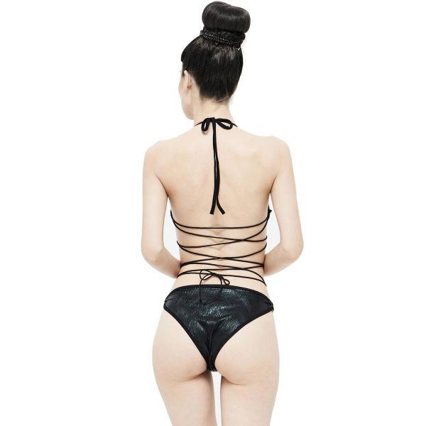 Badeanzug im Metallic-Look und Fesseloptik am Rücken
