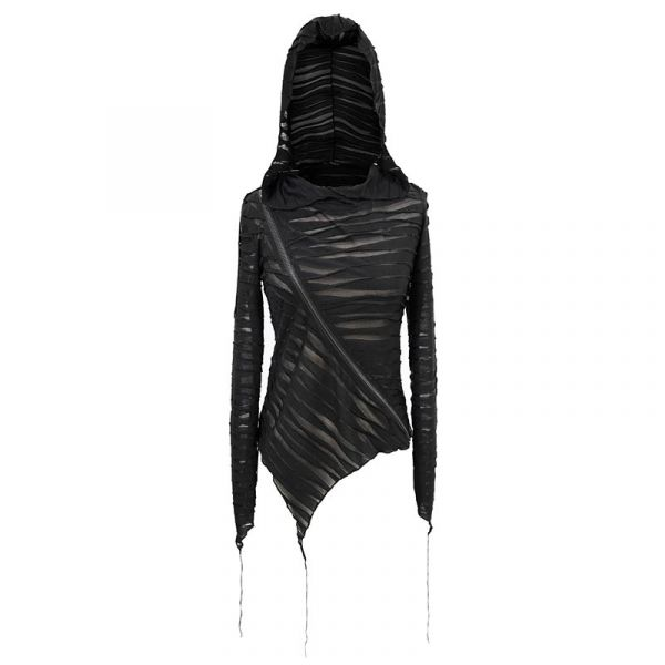 Netz Hoodie in zerschlitztem Look mit sexy Zipper