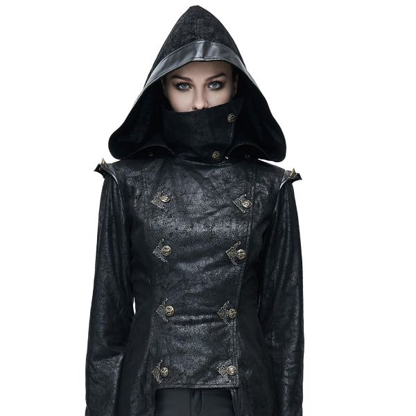 Steampunk Warrior Girl Mantel im Leder-Look mit Stehkragen