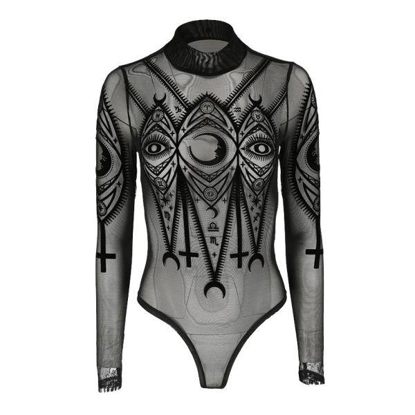 Transparenter Body in mystischem Tattoo Look