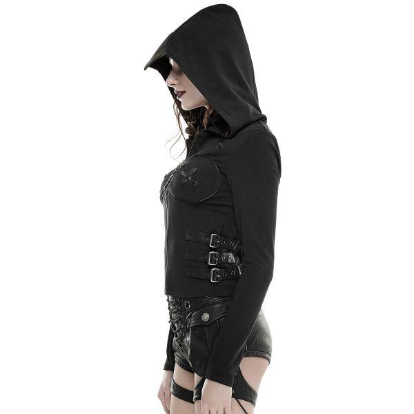 Gothic Kapuzenjacke mit Rückenschnürung und Cut-Outs