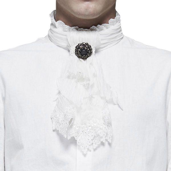 Rüschen Krawatte im Barock Stil mit Schmuckelement