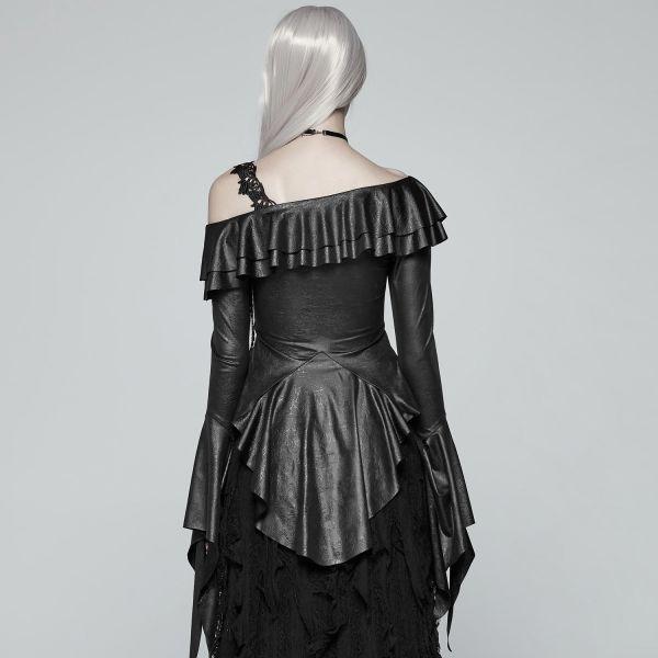 Carmenbluse Gothic Lolita Burlesque von Punk Rave mit Trompetenärmeln Blouse