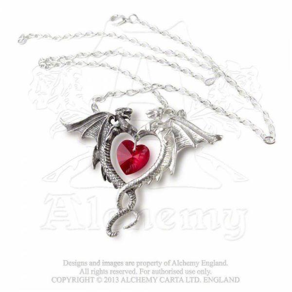 Drachen Kette mit Herz - Coeur Sauvage