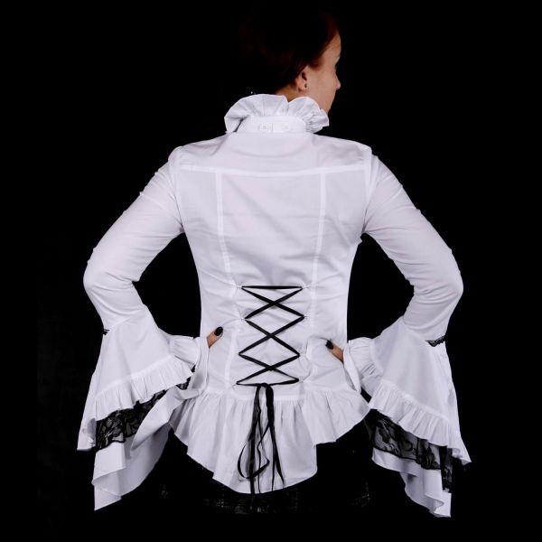 Viktorianische Bluse mit Trompetenärmeln weiß