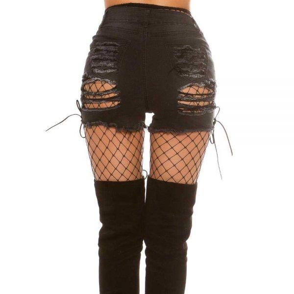 Hotpants im used Look mit Rissen und Seitenschnürung