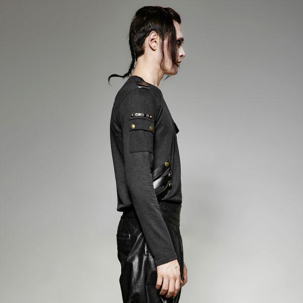 Militär Style Langarmshirt im Feinstrick Vintage Look