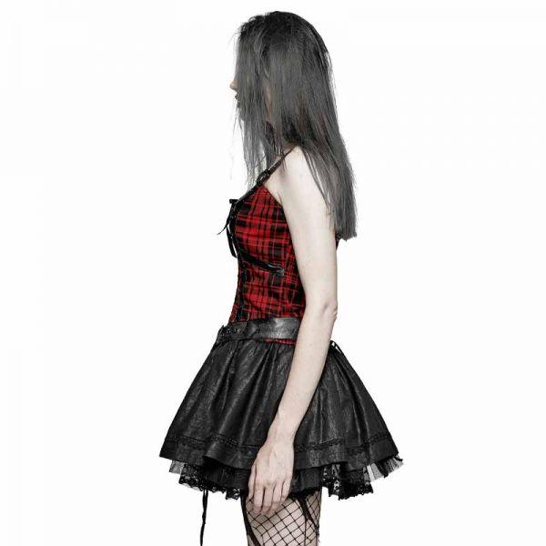 Punk Corsagen Minikleid mit Wetlook Röckchen
