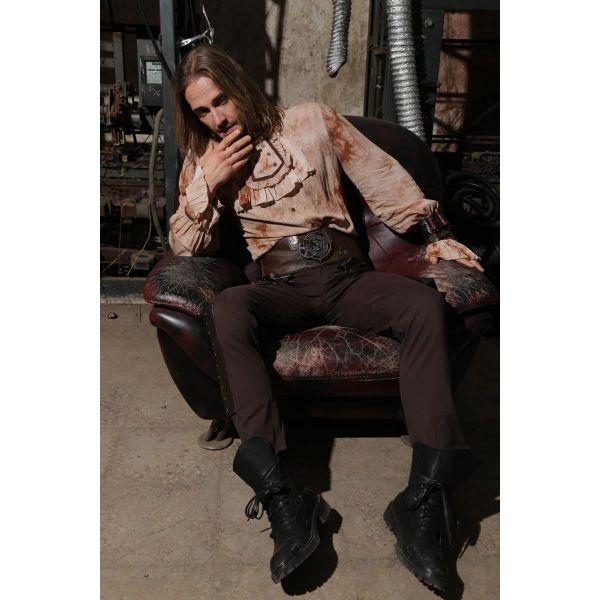 Steampunk Hose mit Kunstleder und Zierschnürung