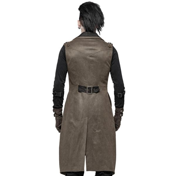 Steampunk Long Weste im Brokat-Look mit Schnürung