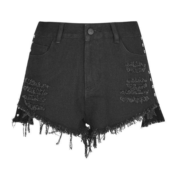 Punk Denim Shorts in zerschlissenem Look mit Rissen