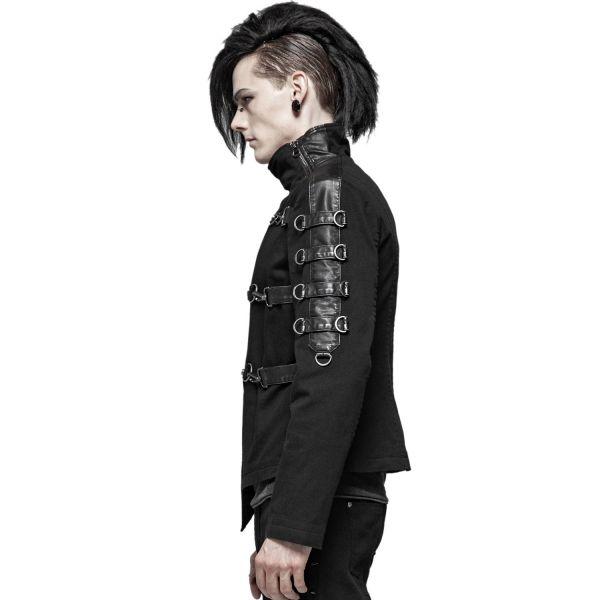 Gothic Psycho Jacke mit Karabinerhaken und Stehkragen